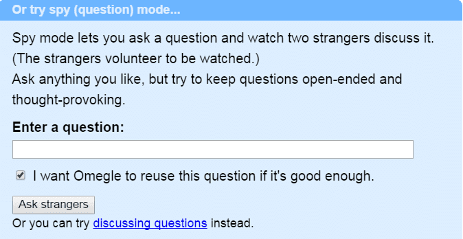 ask questions in omegle spy mode
