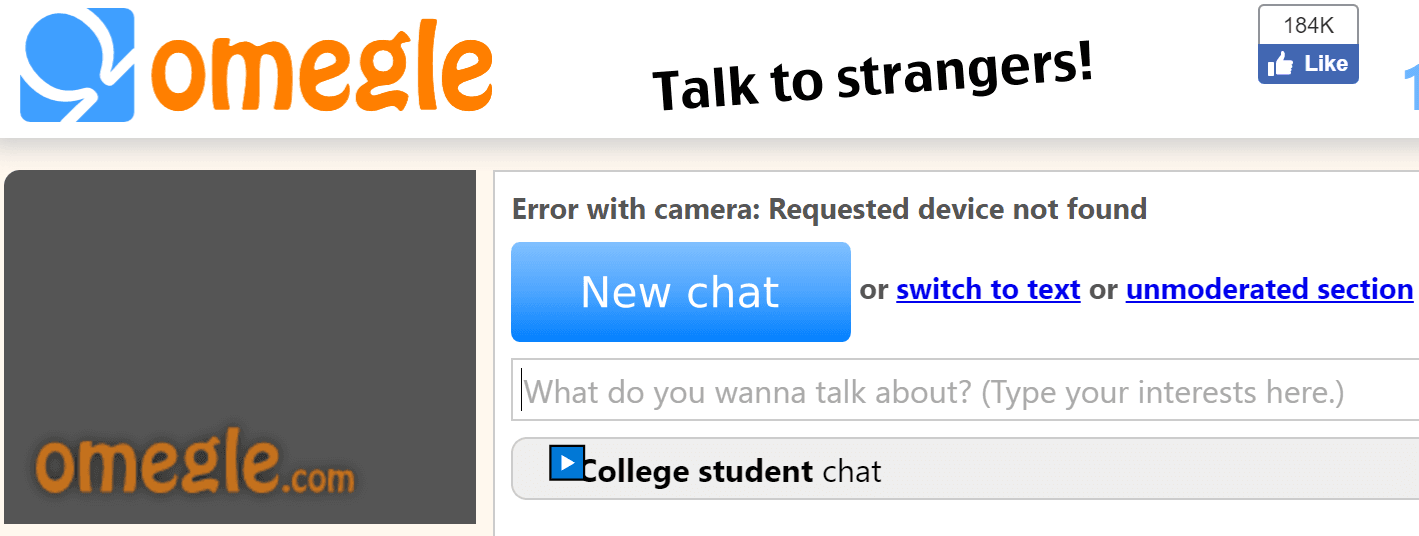 omegle Error with camera Requested device not found